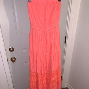 Peach Summer Dress | Strapless Summer Dress